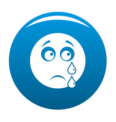 Cry smile icon blue vector