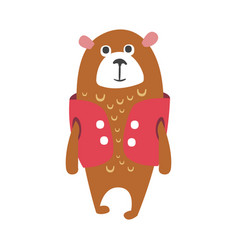 Cute cartoon brown teddy bear in cerise vest vector