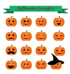 Cute halloween pumpkin emoji icons set emoticons vector