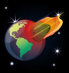 Earth planet with asteroid in the universe vector