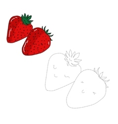 Educational game connect dots draw strawberry vector