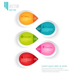 Five colored elements for infographic vector