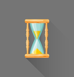 flat style wood sandglass icon vector image
