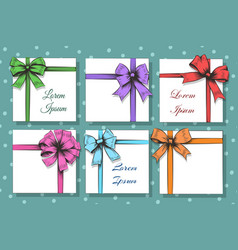gift cards with bow and ribbon set vector image vector image
