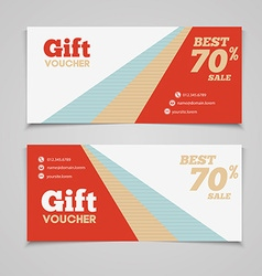 Gift voucher template with amount of discount and vector