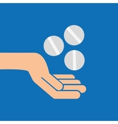 hands pill medicine care icon vector image