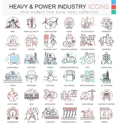 Heavy and Power industry color line outline vector image