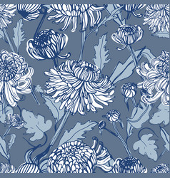 japanese chrysanthemum hand drawn seamless pattern vector image