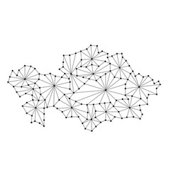 Kazakhstan map of polygonal mosaic lines network vector