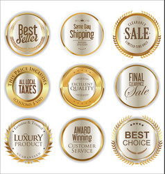 Luxury golden badges collection vector