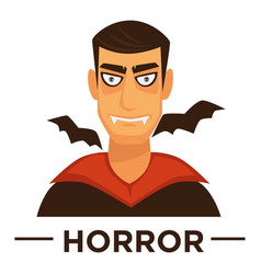 Movie genre horror cinema icon of vampire vector
