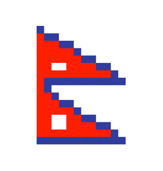 nepal flag pixel art cartoon retro game style set vector image vector image