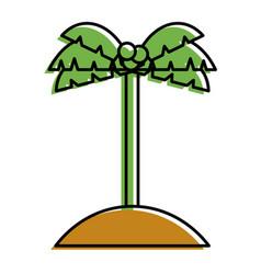 palm tree coconut sand island icon vector image