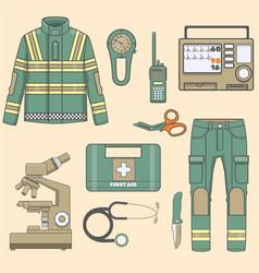 Paramedical uniform and first help equipment set a vector