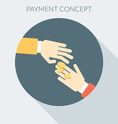 Payment concept Hand giving money to other hand vector image vector image