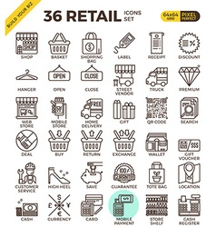 Retail Store pixel perfect outline icons vector image