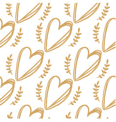 Seamless pattern from golden hearts vector