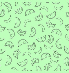 seamless pattern with bananas and watermelon on vector image vector image