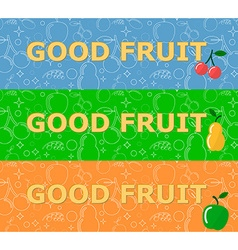Set of horizontal banners with fruits on bright vector image vector image
