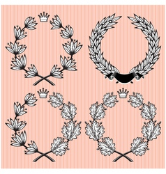 set of wreath of laurel and oak leaves vector image