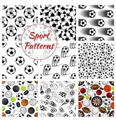 Sporting ball items and trophy seamless pattern vector image vector image