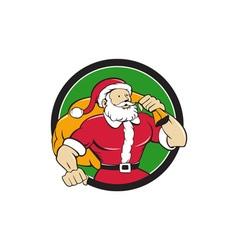 Super santa claus carrying sack circle cartoon vector