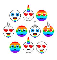 Unicorns characters emoticons or emoji smiles vector