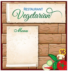 vegetarian menu on wood background vector image vector image