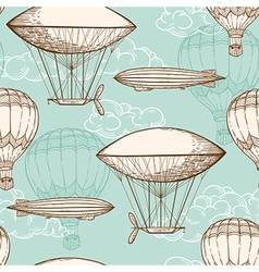 Vintage seamless pattern with air balloons vector image