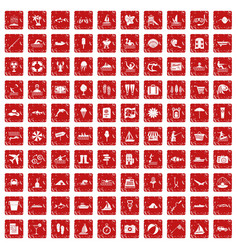 100 water recreation icons set grunge red vector image vector image