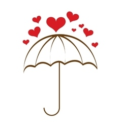 Umbrella hearts rain icon vector