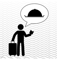 Traveler silhouette suitcase vector