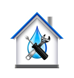House and plumbing service tools icon isolated on vector