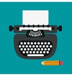 Typewriter and pencil design vector