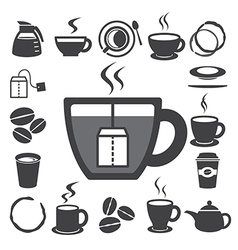 Coffee cup and Tea cup icon set eps10 vector image