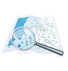 Magnifying glass with map vector