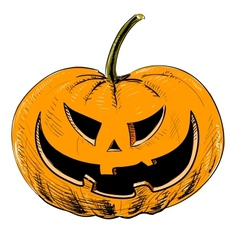 Halloween pumpkin with evil scary smile vector