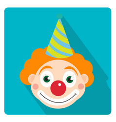Clown icon flat style with long shadows isolated vector