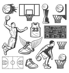 Vintage basketball elements set vector