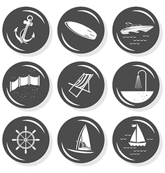 Seaside nautical icon set vector