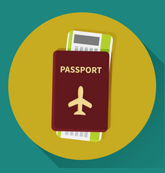 Passport and boarding pass ticket icon vector