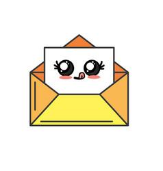 Kawaii cute funny e-mail message vector