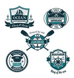 Nautical heraldic icons of seafarer sailing vector