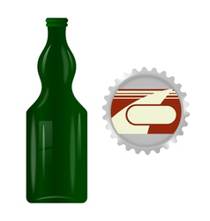Glass bottle with a metal cap vector