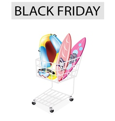 Inflatable boat and surfboards in black friday vector