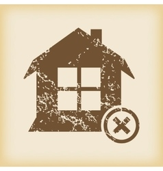 Grungy remove house icon vector