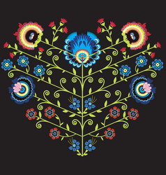 Polish folk floral pattern in heart shape on black vector