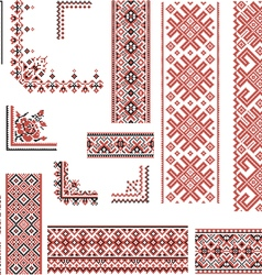 Red and Black Patterns for Embroidery Stitch vector image