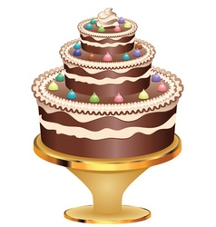 Decorated chocolate cake2 vector