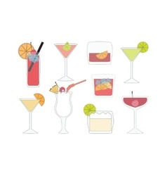 Set of isolated cocktails vector